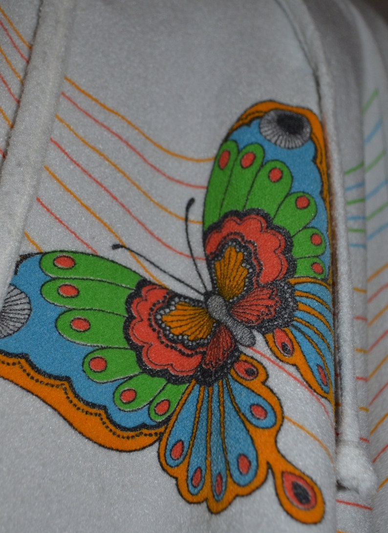 bdffe4aa77a7e 80's White Rainbow Butterflies Terry Cloth Tunic Towel   Etsy