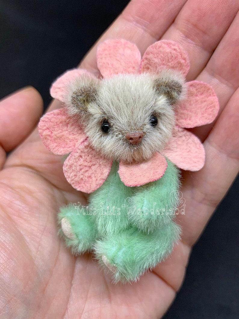 BJD doll animal Artist Bear  Luis 3 inches Holala doll Teddy bear OOAK  Blythe