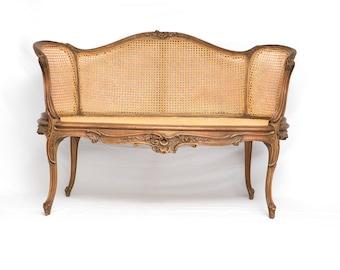 Louis XVI Style Cane Back U0026 Seat Settee