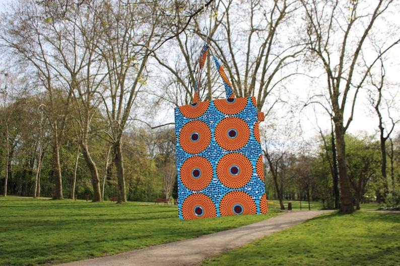 Mini A4 totebag in wax KIWON   Orange and blue African fabric