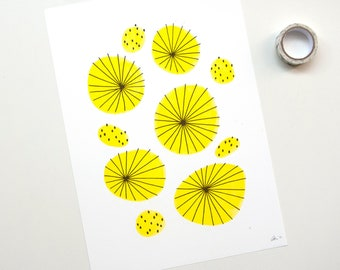 Abstract riso print with 50s pattern, mid century wall art, minimalist poster for her, modern interior gift for woman, circles illustration