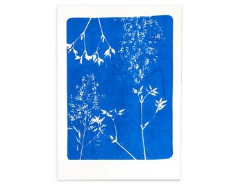 Botanical risoprint of a cyanotype, handmade art for her, blue riso print of plants, birthday gift for mom, modern wall decor in home office