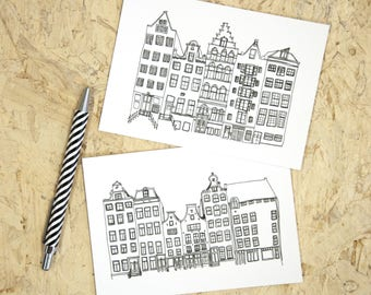 Amsterdam canal houses postcard, canals illustration greeting card without text, black and white art print dutch, line drawing cards holiday