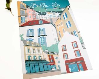 Belle-île en mer poster, illustration print of France, French village artwork, Europe travelposter, travel wall art, home decor gift for her