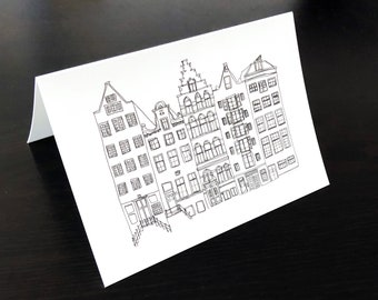 Amsterdam canal houses folded card, canals illustration greeting card without text, black and white art postcard, line drawing holland cards