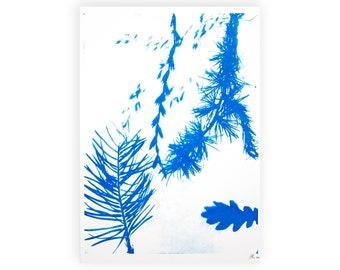 Botanical risoprint of a cyanotype, handmade art for her, blue riso print of plants, modern wall decor, gift for mother, home office artwork