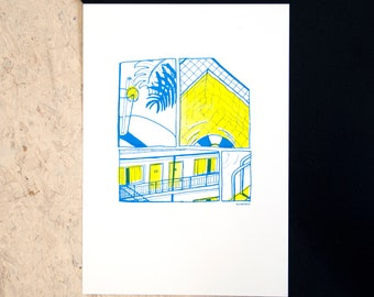 Motel pool risoprint illustration summer, colorful drawing wall art, riso print home office decor, road trip in usa, americana gift for her