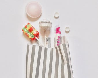 Favour bags, Candy stripe Paper Bags, Kids party bags, Stripe favour bags, Paper Party bags, Candy bags, Sweet bags, Space party, Grey, 10