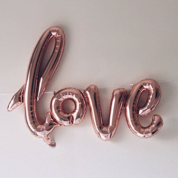 Script Love Balloon Rose Gold Foil Love Balloon Word Balloon Party Decoration Wedding Decoration Anniversary Air Filled Love From