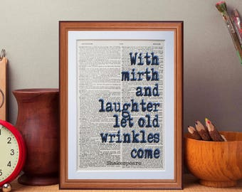 Shakespeare quote  - dictionary page literary art print home decor present gift home decor