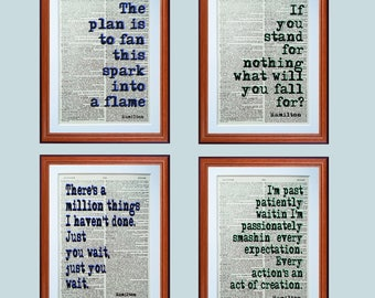 Hamilton Musical quotes X4  - dictionary page art print home decor present gift home decor