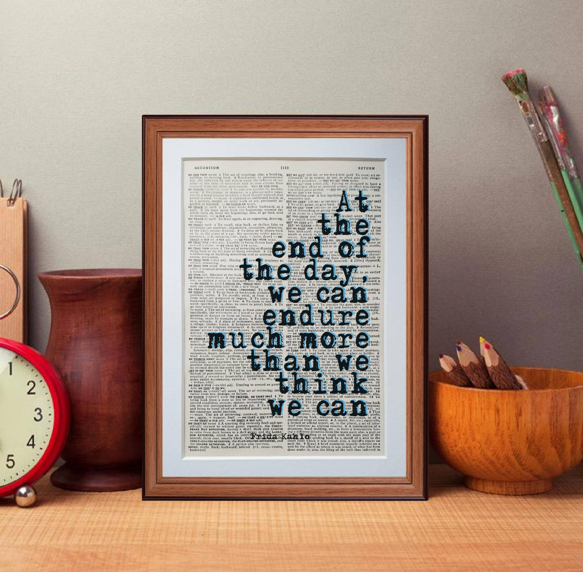Frida Kahlo Quote Dictionary Page Literary Art Print Home