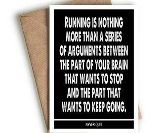 running greeting card gift birthday friend marathon jogging keep fit motivation present