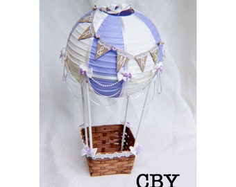 Lavender and Ivory Hot Air Balloon Decoration, Up Up and Away Party Decoration, Nursery Decoration