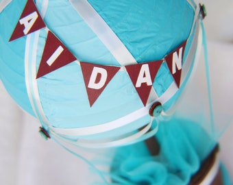 Hot Air Balloon Decoration - Turquoise, Teal and Brown, Up up and away decoration