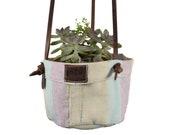 Artisan Canvas Hanging Planter Basket for Home Studio Office Decor, Indoor Outdoor Decorations Plant Holder Handmade by Hide Drink
