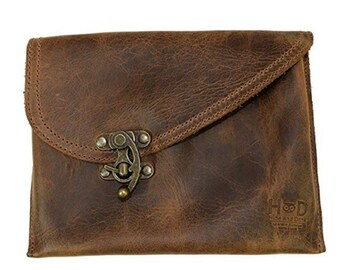 c9f6e165bb Petit Vintage Leather Clutch Bag Handmade Includes 101 Year Warranty    Bourbon Brown