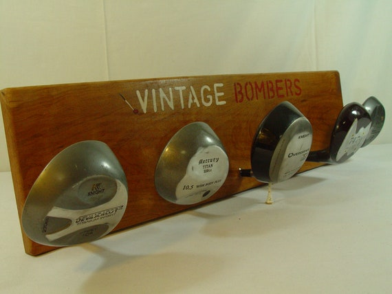 Vintage Bombers Golf Club Hat Rack Oversized Drivers mounted  190a7a06b9ca