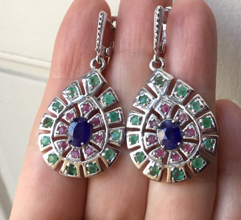 eb08db0a26411 SAPPHIRE RUBY EMERALD White 14K Gold - Sterling Silver Earrings- Genuine  Colombian Emerald, Natural Sapphire - from France