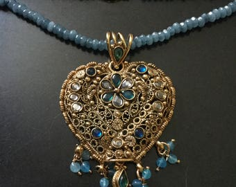 Exceptional FILIGREE NECKLACE Blue Stone necklace - Very Nice Vintage jewelry-Unique design-Gold Plated - hand-made Vintage from France