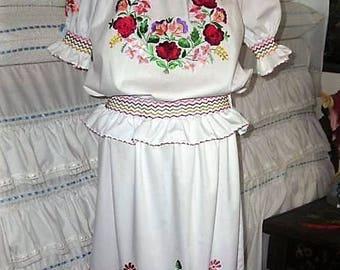 Traditional Kalocsa Hungarian Hand Embroidered folk art custom size