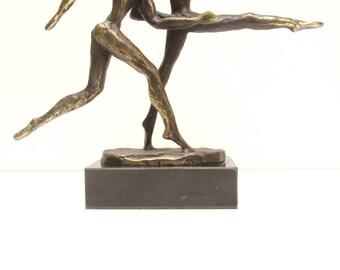 Bronze statue of two runner height 15 cm