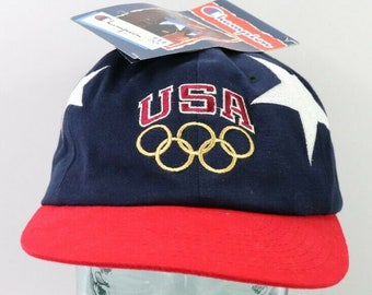 cd31ed0e New 90s Champion USA Olympics Spell Out Stars Snapback Hat Cap Blue,  Vintage Champion Hat, 90s USA Olympics Hat, Vintage Olympics Hat Cap