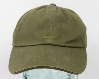 6c83bf57 90s Nautica Sailing Logo Leather Buckle Strapback Cotton Dad Hat Cap Green, Vintage  Nautica Dad Hat, 90s Dad Hat, Nautica Hat, Vintage Hat
