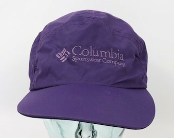 f58ef26590c7a 90s Columbia Spell Out 5 Panel Hat Unisex Large Purple USA