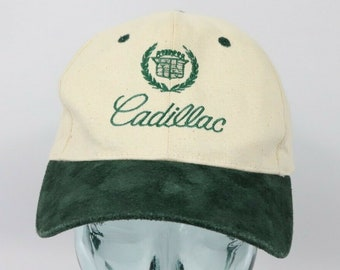 180950a2d18e6 90s Cadillac Spell Out Suede Brim Leather Strapback Hat Cap Cream Green