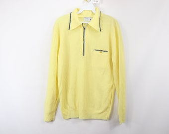 ae8a99ebdd 70s JCPenney Half Zip Pullover Polo Sweater Yellow Polyester Mens Medium,  Vintage 70s JC Penney Sweater, 70s Sweater, Pullover Sweater, 70s