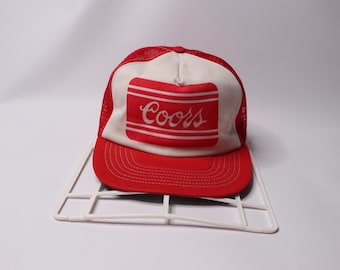 0e502304c45f2 80s Coors Beer Spell Out Mesh Snapback Trucker Hat Cap Red Nylon