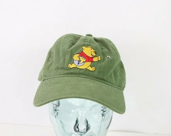 73bf2419c 90s Walt Disney Winnie The Pooh Bear Adjustable Cotton Dad Hat Cap Green,  Vintage Disney Hat, Cotton Dad Hat, Disneyland Hat, Mickey Mouse