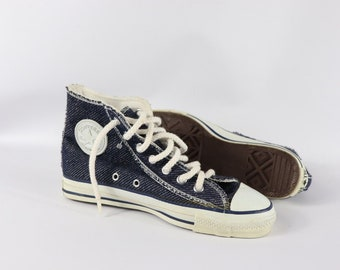 41735d5fb4dff4 90s New Converse Chuck Taylor All Star Low Inside Out Denim Sneakers Shoes  Mens Size 5.5 Womens 7.5 Navy Blue USA