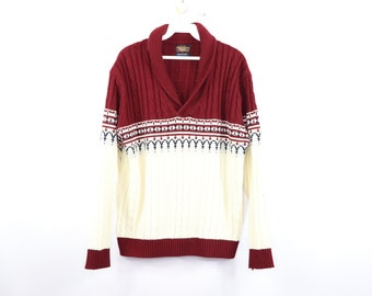Vintage 70s JCPenney Cowl Neck Knit Long Sleeve Fair Isle Sweater Mens  Large Burgundy cd4823d03