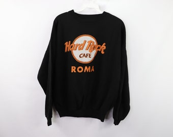 27271335 90s Hard Rock Cafe Roma Rome Spell Out Crewneck Sweater Black Mens Small,  Vintage Hard Rock Cafe Sweater, 1990s Crewneck Sweater, 90s