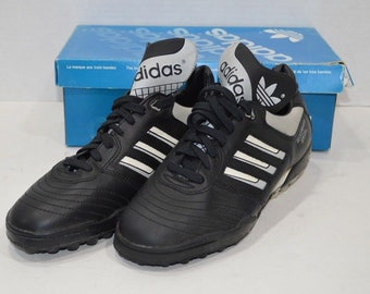 30d9d7479 90s New Adidas Spell Out Leather Beckenbauer Special Indoor Soccer Cleats  Shoes Black Mens Size 8, Vintage Adidas Soccer Cleats, Beckenbauer