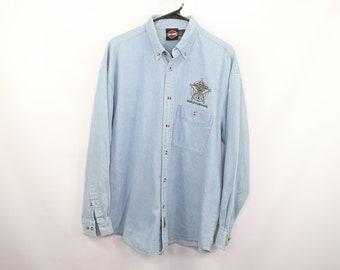 4505878f 90s Harley Davidson Motorcycles Sheriff Denim Jean Shirt Blue Mens Large, Vintage  Harley Davidson Denim Shirt, 90s Harley Davidson Shirt,