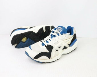 87c983c6adc7 90s Asics Gel 125 Running Jogging Athletic Shoes Mens Size 10 White Blue