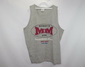 12d5f883832e5 90s Mickey Mouse Gym Boxing Spell Out Tank Top Shirt Mens 2XL Gray