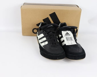 9536a4e54 90s New Adidas Indoor Champ Soccer Shoes Trainers Black White Mens 7