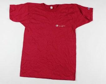 ded033ee0f82 80s New Champion Spell Out Short Sleeve Shirt Reddish Pink Mens Medium  Cotton USA, Vintage Champion Spell Out T-Shirt, 1980s Champion Shirt