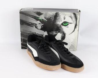 80s New Puma Boca Indoor Soccer Shoes Flat Black White Mens 11.5 f34d3bbbf