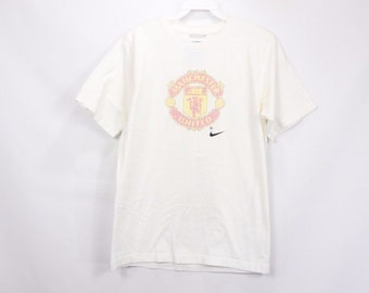 485fa22dfc9 90s Nike Manchester United Soccer Futbol Short Sleeve Shirt White Mens  Small