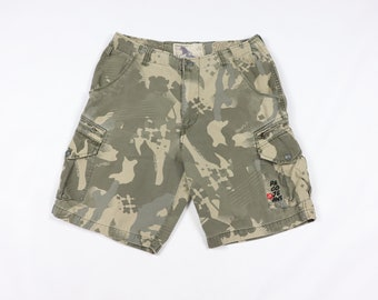 3535e2c5999f 90s Paco Jeans Spell Out Camouflage Cargo Shorts Cotton Green Mens 36