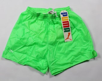 605f72b5cc4 90s New PUMA Casual Outdoor Spell Out Soccer Beach Volleyball Nylon Shorts  Neon Green Mens, Vintage Puma Dad Shorts, Retro Dad Shorts, 1990s