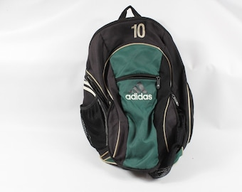 90s Adidas Big Logo Spell Out Soccer Ball Holder Backpack Book Bag Green  Black  10 484ba1567b868