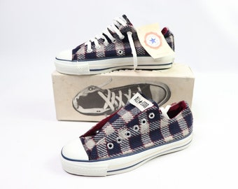 a1f281aeff30b6 90s New Converse Chuck Taylor All Star Low Wool Plaid Sneakers Shoes Mens  Size 5 Womens 7 Navy Blue Grey Burgundy