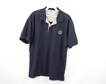 9f7804a292b 80s Burberrys of London Nova Check Spell Out Golf Polo Shirt Mens Large