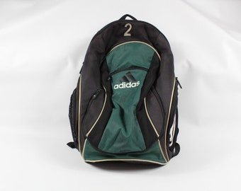 276bcdaee56f 90s Adidas Big Logo Spell Out Soccer Ball Holder Backpack Book Bag Green  Black  2